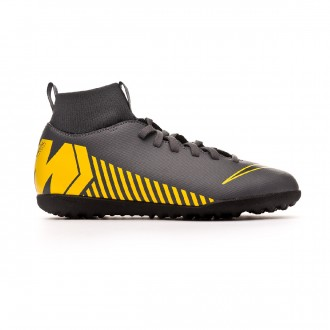 Football Boot  Nike Kids Mercurial SuperflyX VI Club Turf  Dark grey-Black-Optical yellow