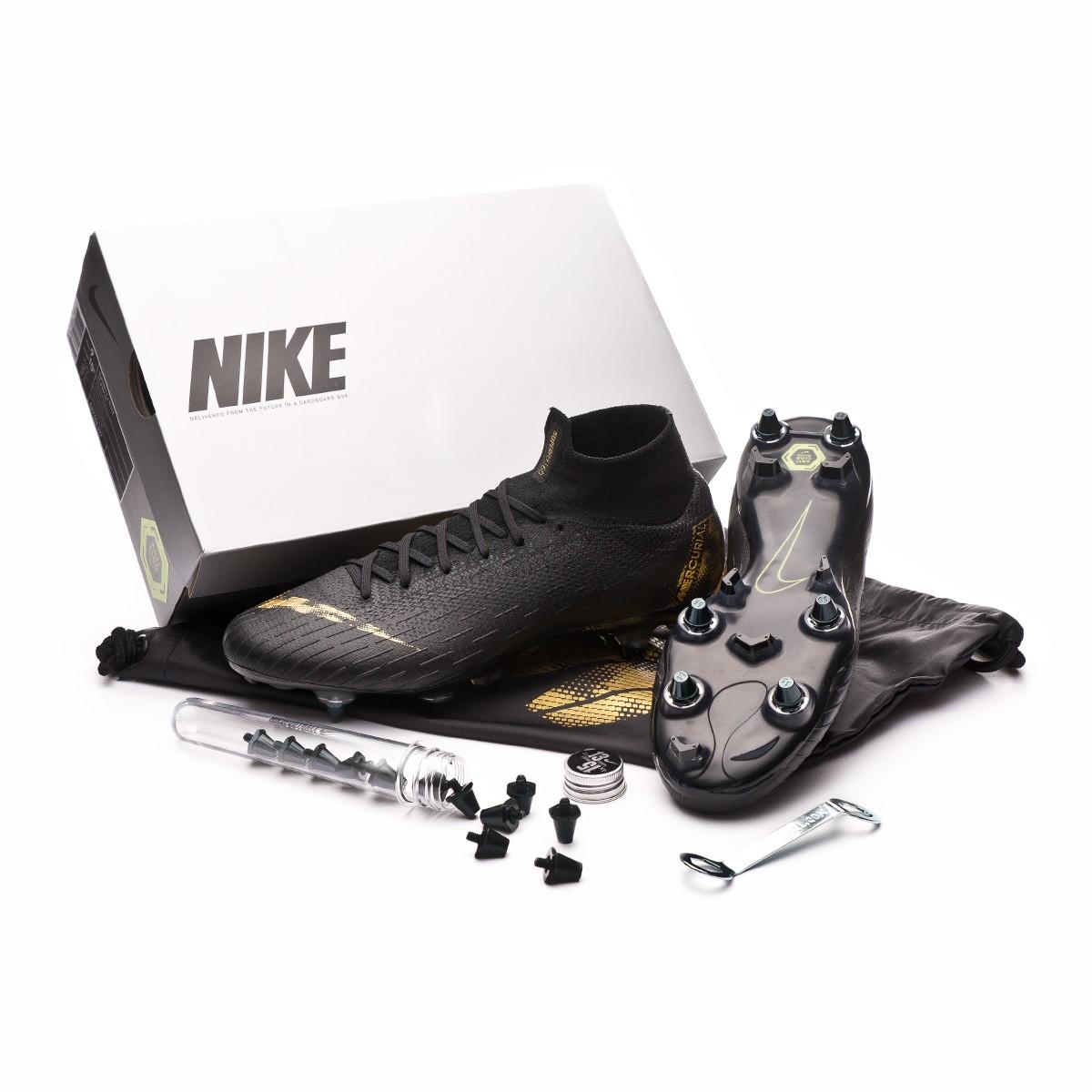 Menagerry mantequilla definido  Football Boots Nike Mercurial Superfly VI Elite Anti-Clog SG-Pro  Black-Metallic vivid gold - Football store Fútbol Emotion