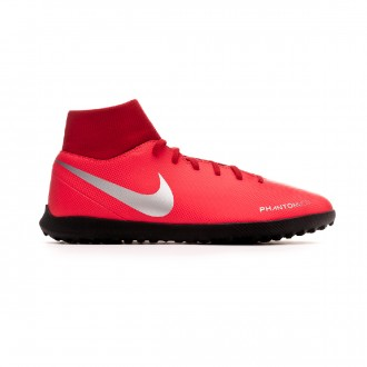 Chaussure de football Nike Phantom Vision Club DF Turf Bright crimson-Metallic silver