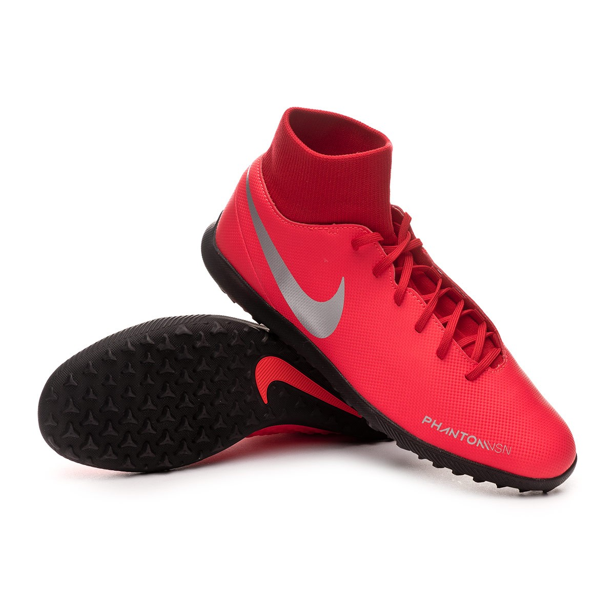 lobo Favor mostrador  Football Boot Nike Phantom Vision Club DF Turf Bright crimson-Metallic  silver - Football store Fútbol Emotion
