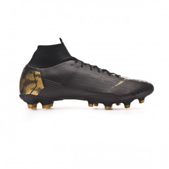 Chuteira Nike Mercurial Superfly VI Pro AG-Pro Black-Metallic vivid gold