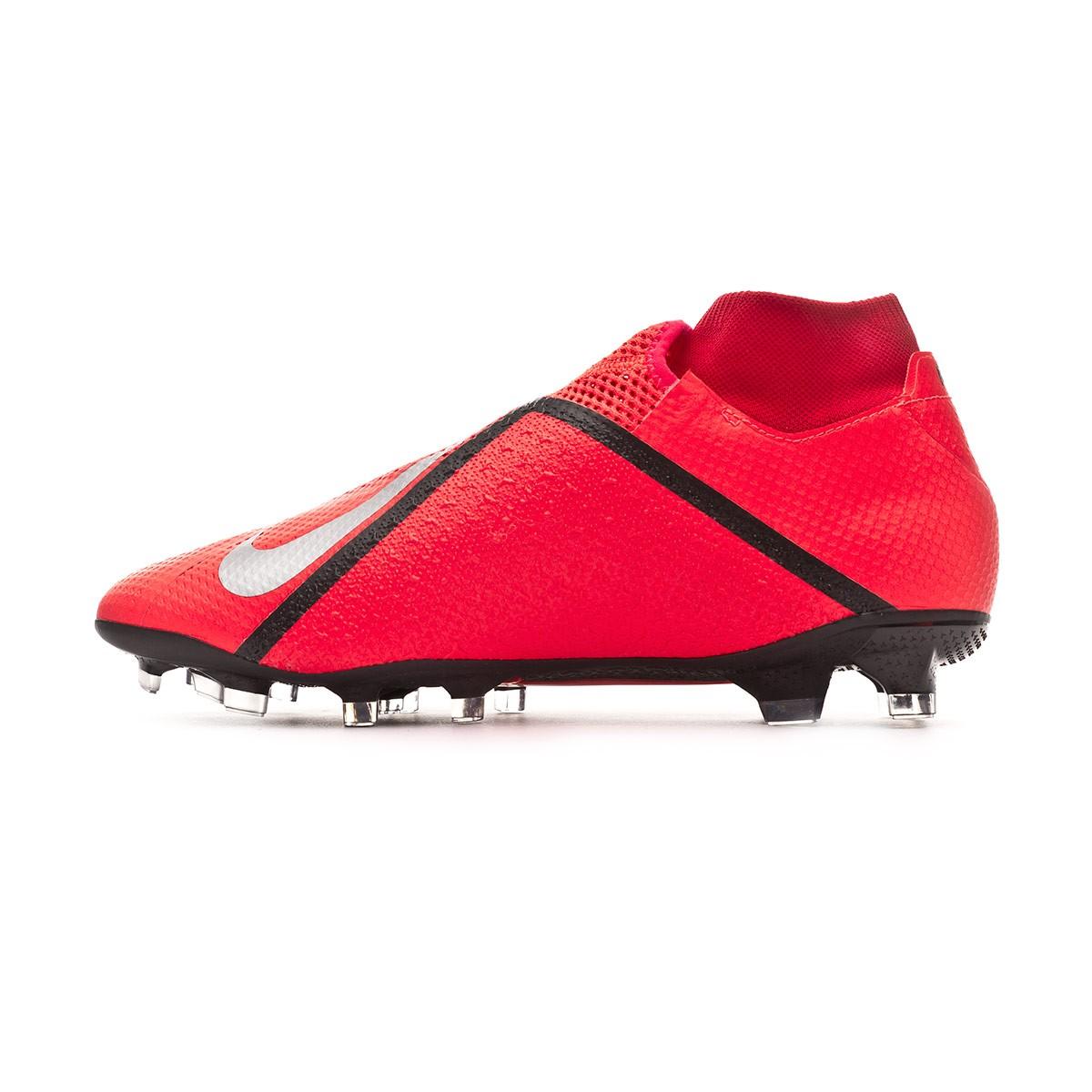 146705389 Football Boots Nike Phantom Vision Pro DF FG Bright crimson-Metallic silver  - Football store Fútbol Emotion