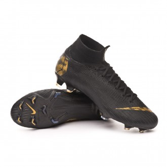 Chuteira  Nike Mercurial Superfly VI Elite FG Black-Metallic vivid gold