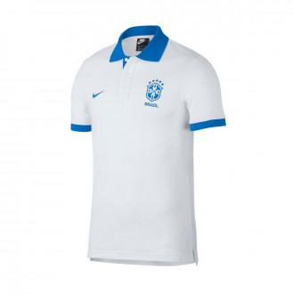Polo shirt  Nike Brasil Core Match Copa America 2018-2019 White-Signal blue
