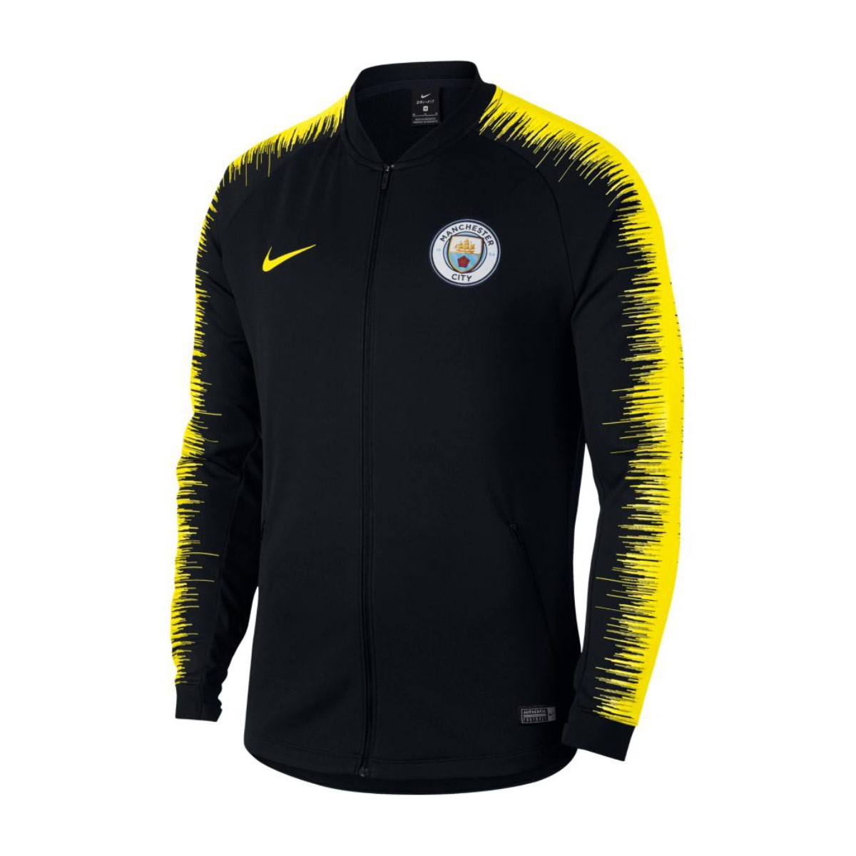 best sneakers ef610 3250a Chaqueta Manchester City FC Pre-Match 2018-2019 Black-Optical yellow