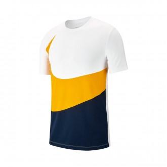 Camiseta  Nike Sportswear Swoosh 2019 White-Obsidian-Amarillo