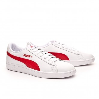 Trainers  Puma Smash v2 L White-High risk red-Gray violet
