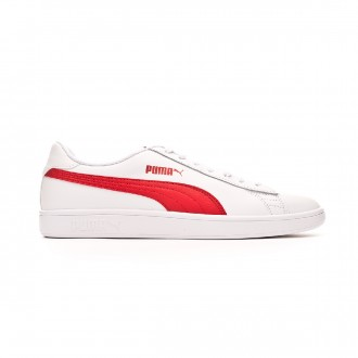 Scarpe Puma Smash v2 L White-High risk red-Gray violet