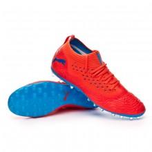 Bota Future 19.2 Netfit MG Red blast-Bleu azur