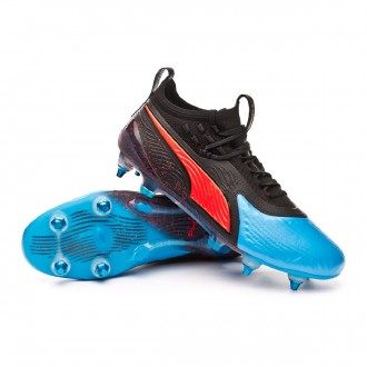 Football Boots  Puma One 19.1 Mx SG Bleu azur-Red blast-Black