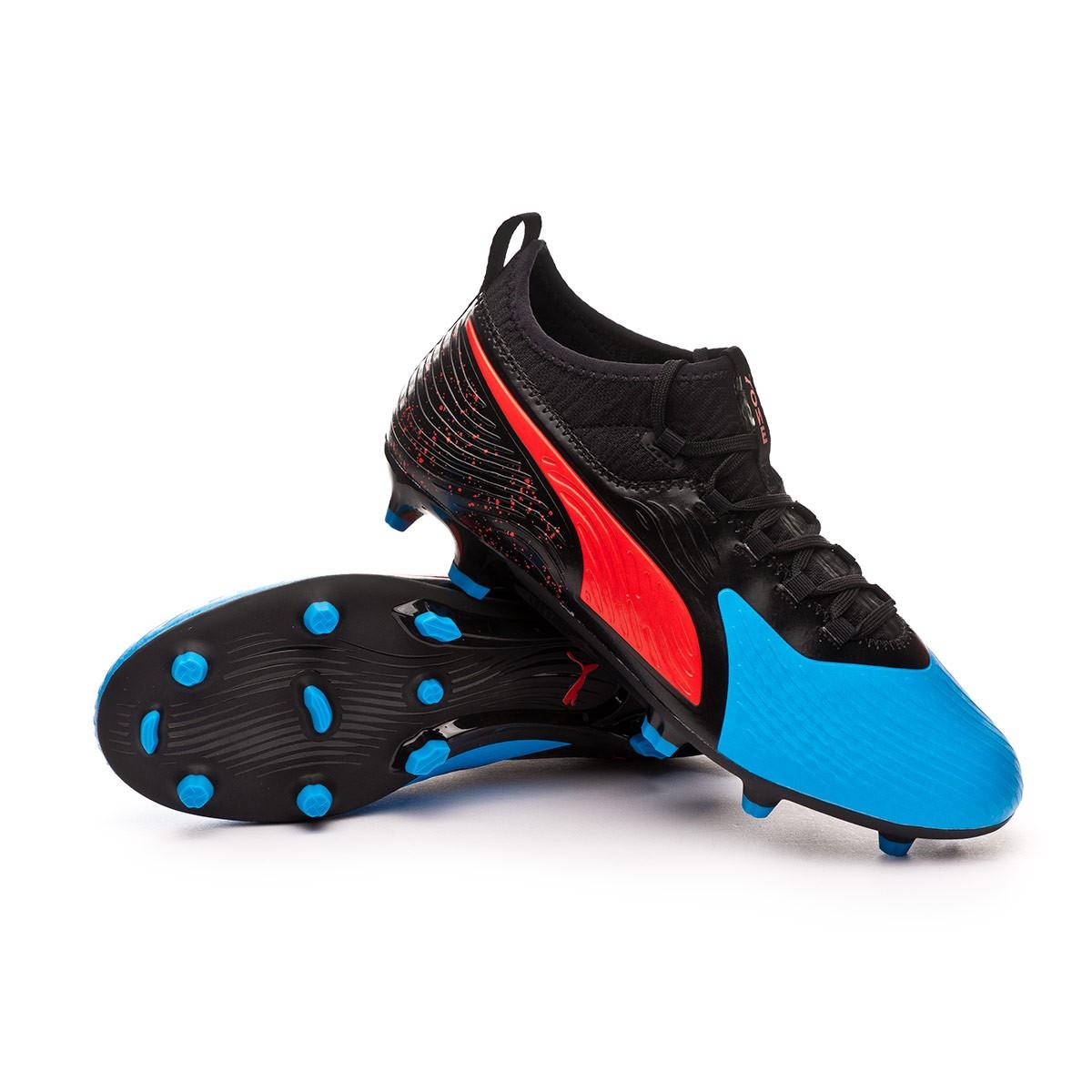 ea29c4619dc Football Boots Puma One 19.3 Syn FG/AG Bleu azur-Red blast-Black ...