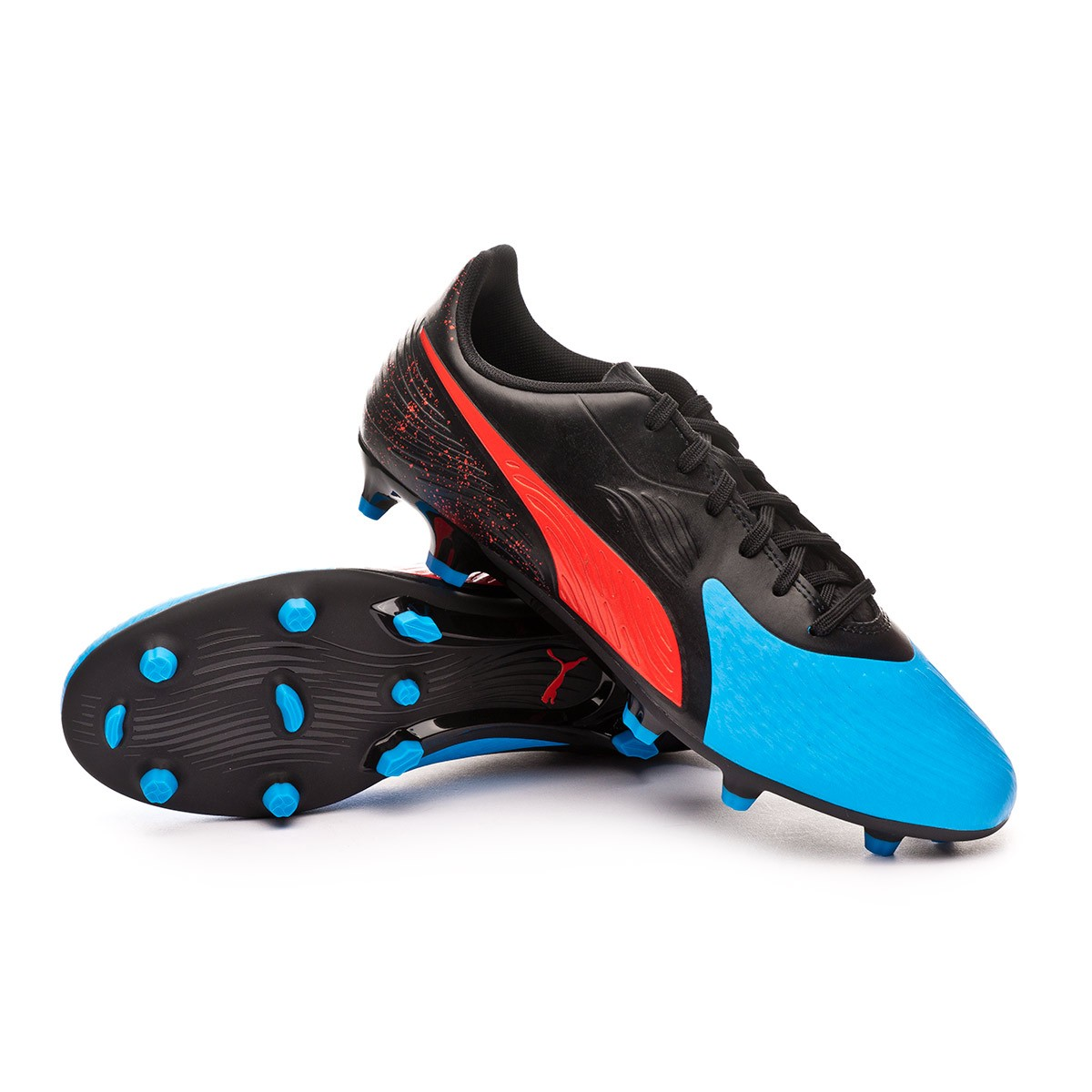 0bbac5fe1a7 Boot Puma One 19.4 FG AG Bleu azur-Red blast-Black - Football store Fútbol  Emotion