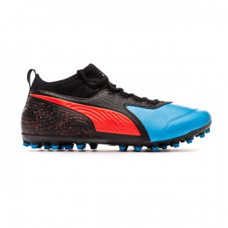 Bota Puma One 19.3 MG Bleu azur-Red blast-Black