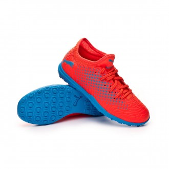 Football Boot  Puma Kids Future 19.4 Turf  Red blast-Bleu azur