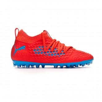 Zapatos de fútbol  Puma Future 19.3 MG Niño Red blast-Bleu azur