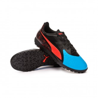 Football Boot  Puma Kids One 19.4 Turf  Bleu azur-Red blast-Black