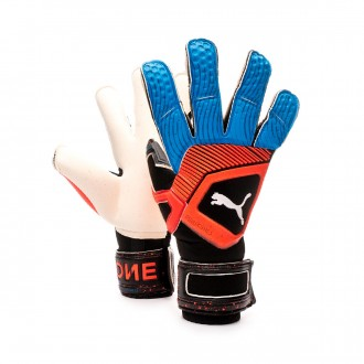 Glove  Puma One Grip 1 Hybrid Pro Black-Bleu azur-Red blast