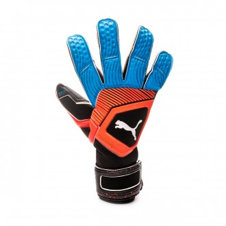 Luvas Puma One Grip 1 Hybrid Pro Black-Bleu azur-Red blast
