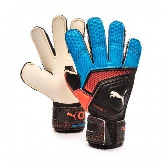 Glove  Puma One Grip 1 RC Niño Black-Bleu azur-Red blast