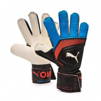 Glove  Puma One Grip 3 RC Black-Bleu azur-Red blast