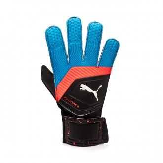 Luvas Puma One Grip 4 Black-Bleu azur-Red blast