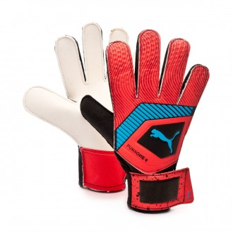 Glove  Puma One Grip 4 Red blast-Bleu azur-Black