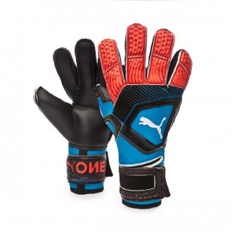 Glove  Puma One Protect 1 Bleu azur-Red blast-Black