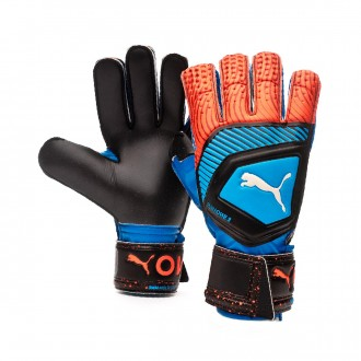 Glove  Puma One Protect 3 Bleu azur-Red blast-Black
