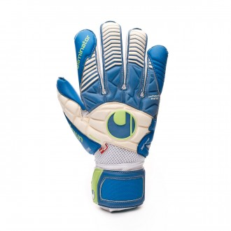 Glove Uhlsport Aquasoft Outdry Pacific blue-Fluor green-White