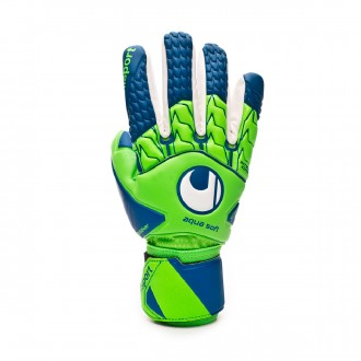 Glove Uhlsport Aquasoft HN Windbreaker Fluor green-Pacific blue-White