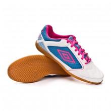 Sapatilha de Futsal Sala Liga White-Pink glo-Diva Blue