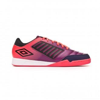Sapatilha de Futsal Umbro Chaleira Liga IC Plum caspia-Black-Eclipse-Lava pink