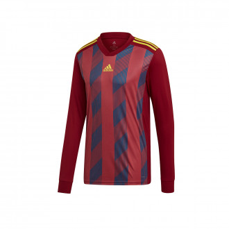 Maillot  adidas Striped 19 m/l Collegiate burgundy-Bright yellow