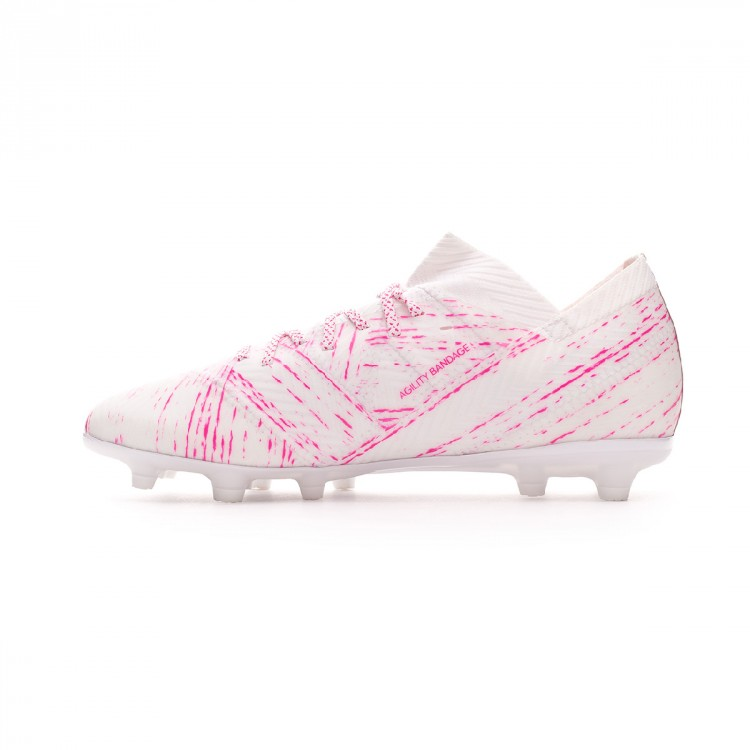 def2a8e6f Bota de fútbol adidas Nemeziz 18.1 FG Niño White-Shock pink - Tienda ...