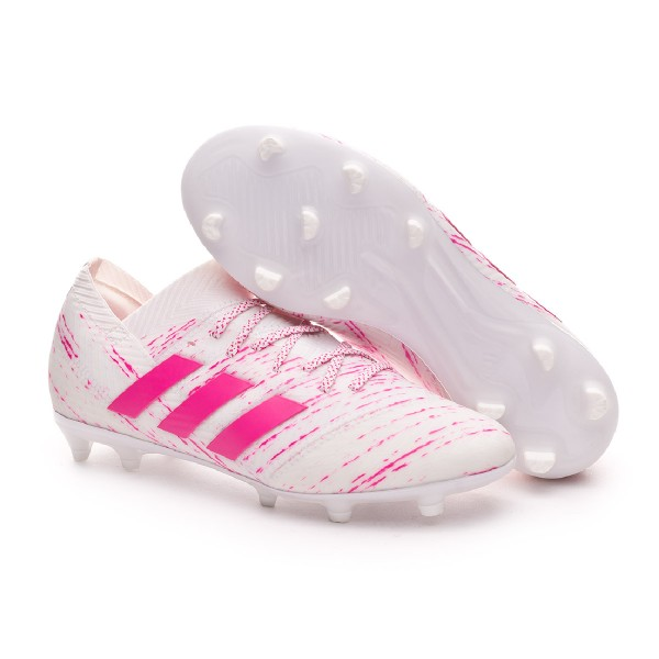 ba4e8e343 Football Boots adidas Kids Nemeziz 18.1 FG White-Shock pink - Football  store Fútbol Emotion