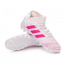 Bota Nemeziz 18.3 AG Niño White-Shock pink