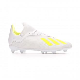 Bota  adidas X 18.3 FG Niño White-Solar yellow-White