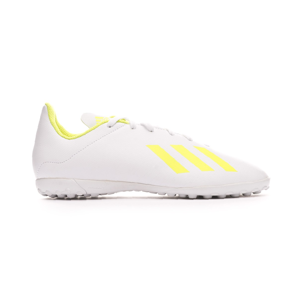 Clip mariposa rival arena  Football Boot adidas Kids X Tango 18.4 Turf White-Solar yellow-White -  Football store Fútbol Emotion