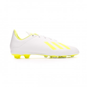 Football Boots adidas X 18.4 FxG Niño White-Solar yellow-White