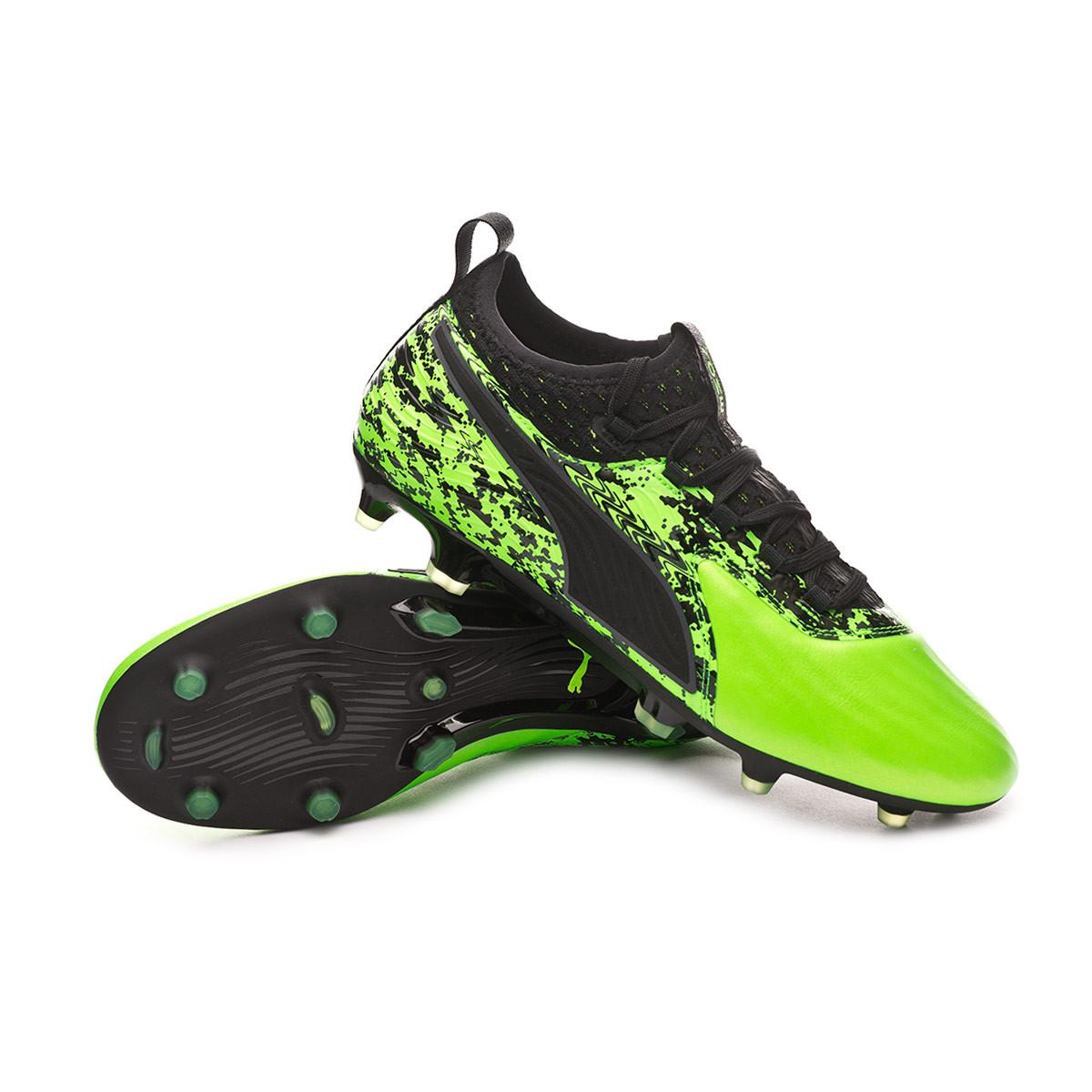 4793d50285e Football Boots Puma One 19.2 FG AG Green gecko-Puma black-Charcoal gray -  Football store Fútbol Emotion
