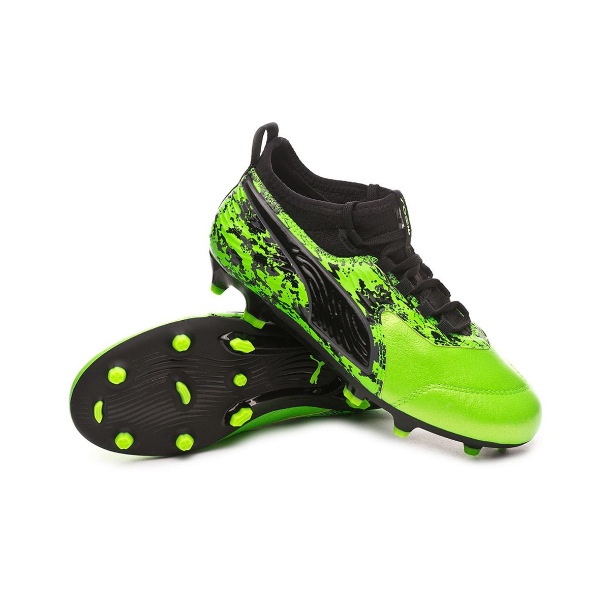 560400894f3 Zapatos de fútbol Puma One 19.3 FG AG Niño Green gecko-Puma black-Charcoal  gray - Tienda de fútbol Fútbol Emotion