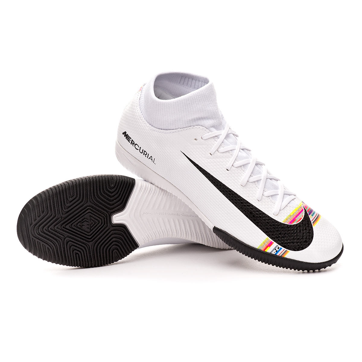 5c52576fd Nike Mercurial SuperflyX VI Academy LVL UP IC Futsal Boot. White-Black-Pure  ...