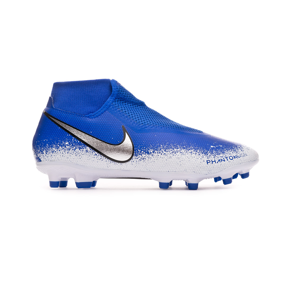 4ee8c487c Football Boots Nike Phantom Vision Academy DF FG/MG Racer blue-Chrome-White  - Football store Fútbol Emotion