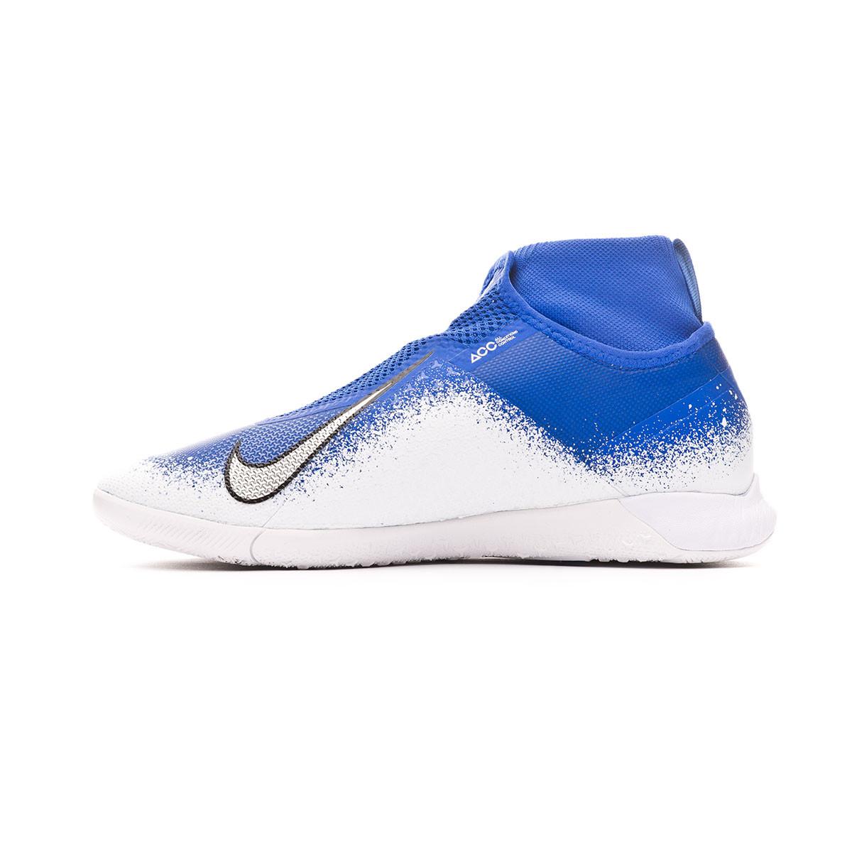 Juguetón Encogerse de hombros Cambio  Futsal Boot Nike React Phantom Vision Pro DF IC Racer blue-Chrome-White -  Football store Fútbol Emotion