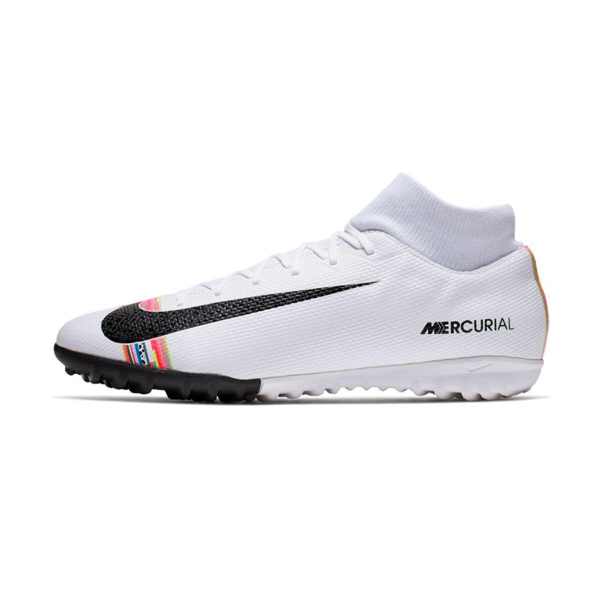 d91d22306 Football Boot Nike Mercurial SuperflyX VI Academy LVL UP Turf White-Black- Pure platinum - Football store Fútbol Emotion