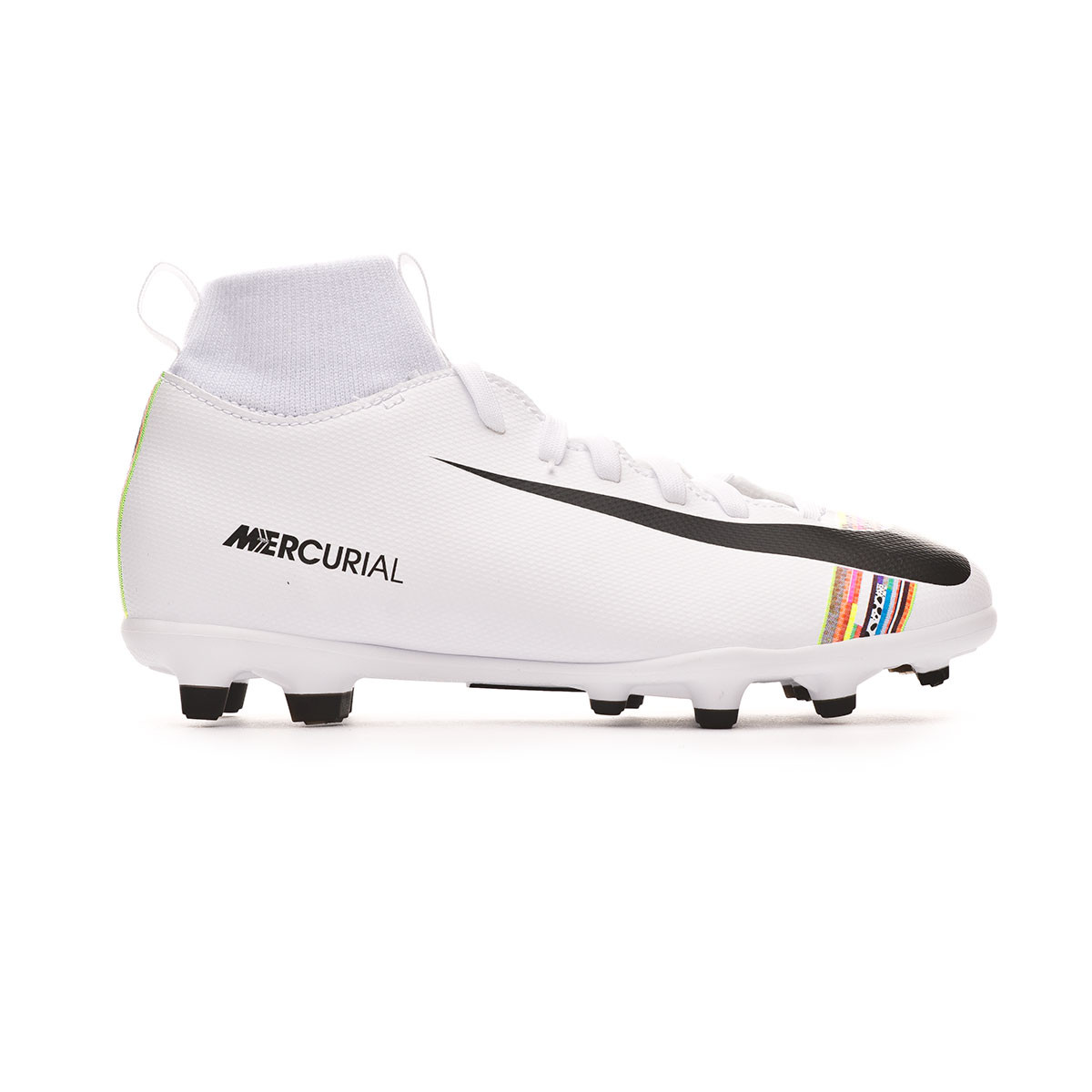 84129e7daa932 Football Boots Nike Mercurial Superfly VI Club LVL UP MG Niño White-Black -  Football store Fútbol Emotion