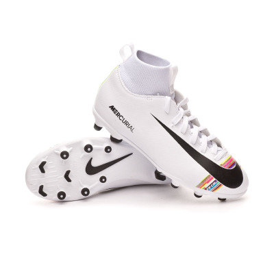 new product f72a1 5cf15 Football Boots Nike Mercurial Superfly VI Club LVL UP MG Niño White-Black -  Football store Fútbol Emotion
