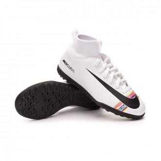 Tenis  Nike Mercurial SuperflyX VI Club LVL UP Turf Niño White-Black