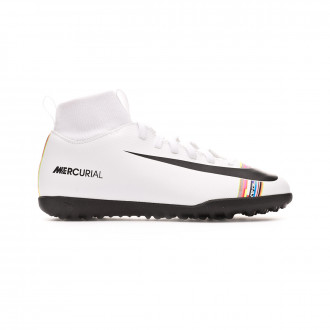 Zapatilla  Nike Mercurial SuperflyX VI Club LVL UP Turf Niño White-Black