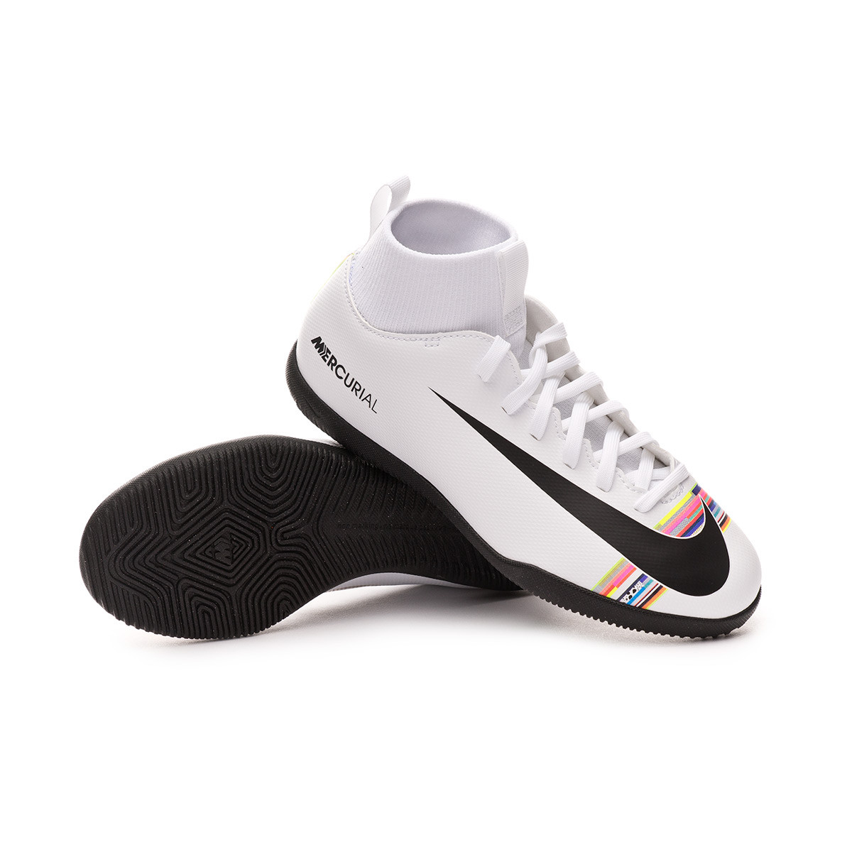 cheapest new product united states Futsal Boot Nike Kids Mercurial SuperflyX VI Club LVL PV IC White ...